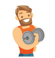 young caucasian white bodybuilder lifting dumbbell vector image