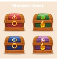 colorful vintage wooden chest with diamonds vector image