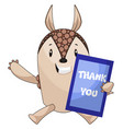 armadillo with thank you board on white vector image vector image