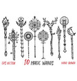 black and white collection with magic wands vector image vector image