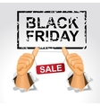 black friday sale and man giving the thumbs up vector image vector image