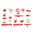 blood spatters set dripping blood and stains vector image vector image