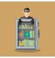 burglar thief in mask on big opened safe vector image