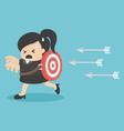 Businesswoman running arrows vector image vector image