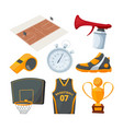 cartoon icons set various basketball elements vector image