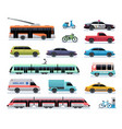 city transport cartoon car bus and truck tram vector image vector image