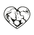 couple kissing in the heart vector image vector image