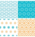 Four abstract blue yellow floral shapes seamless vector image vector image
