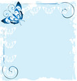 frame of blue butterfly background vector image