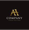 gold elegant monogram letter ah logo icon vector image vector image