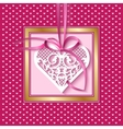 Greeting card with a lace heart on a satin ribbon vector image
