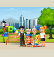 happy family members in the city park vector image vector image