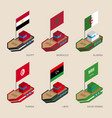 isometric ships with flags of middle east vector image vector image