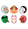 Japanese comical masks vector image vector image