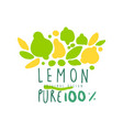 lemon 100 percent logo template original design vector image vector image
