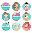 male and female characters doing bathroom vector image