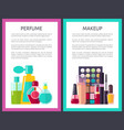 pair of makeup and perfume multicolored cards vector image vector image