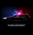 police car lights background vector image vector image