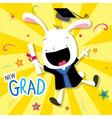 Rabbit animal congratulation new graduate cute car vector image