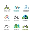 set bicycle icons and symbols vector image vector image