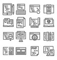 set web development line icons vector image