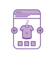 silhouette smartphone website shopping the clothes vector image vector image