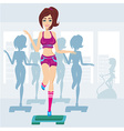 silhouettes of people exercising in a gym vector image vector image