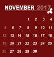 Simple calendar template of november 2017 vector image