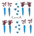 strange crazy blue carrots realistic hand drawn vector image vector image