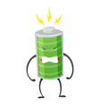 strong battery man standing and shows his muscles