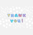 thank you phrase in pixel art 8 bit style vector image vector image