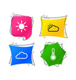 weather icons cloud and sun temperature symbol vector image vector image