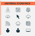 web icons set with tabs upload cursor arrow and vector image