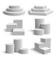 white 3d podium realistic pedestal cylinder and vector image vector image