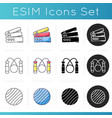 workout equipment icons set vector image
