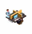 workplace busy man work in office isometric style vector image vector image