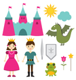 Princess and prince set vector image