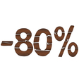 80 Wood percentage icon - isolated on the white vector image