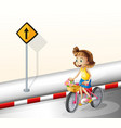A girl biking at the road vector image vector image