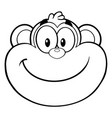 black and white smiling monkey face vector image vector image