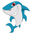 cartoon funny shark isolated on white background vector image vector image