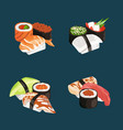 cartoon sushi types piles set vector image