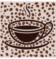 Coffee cup on bean filled background vector image