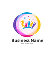 colorful business home icon design vector image vector image