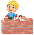 Construction worker laying bricks vector image vector image