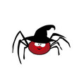 cute funny red cartoon spider wearing witch hat vector image