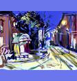 digital sketch drawing of winter evening landscape vector image vector image