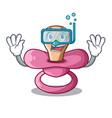 diving newborn is sucking a pacifier cartoon vector image