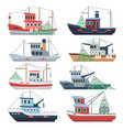 fishing ocean boats commercial trawlers vector image
