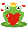 Frog Prince Holding A Red Heart vector image vector image